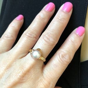 NWT 14K solid Yellow Gold Pearl Ring Size 6.5